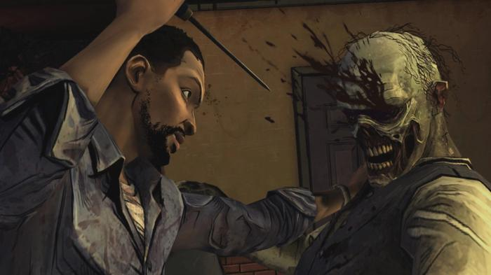Screenshot from The Walking Dead, showing Lee stabbing a zombie in the eye