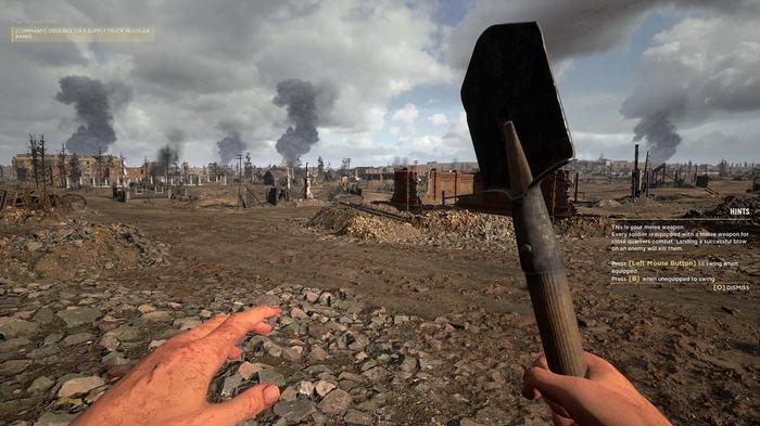 Screenshot from Hell Let Loose showing a player wielding a shovel as a melee weapon.