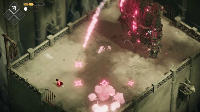 The Guardian of the Door fires missiles in Death's Door