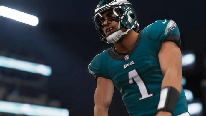 Jalen Hurts prepares to hike the ball in Madden 22