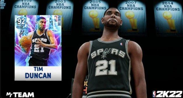 Tim Duncan in NBA 2K22 as a Diamond card