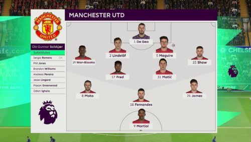 Man U lineup vs Chelsea