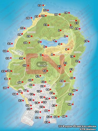 gta online peyote plants map