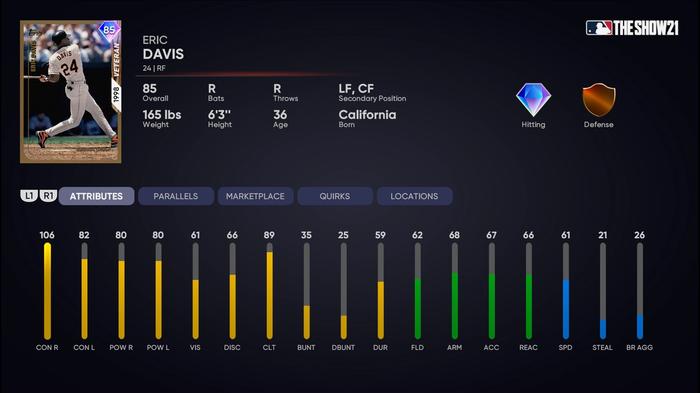 MLB The Show 21 Diamond Dynasty Eric Davis 1st Inning Player Program Stats