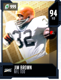 Jim Brown's 94 OVR NFL 100 MUT card