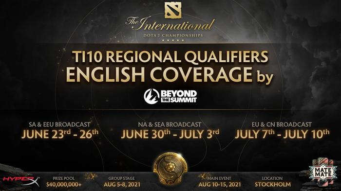 A poster for the  DOTA 2 T10 International containing coverage information by Twitch channel Beyond the Summit