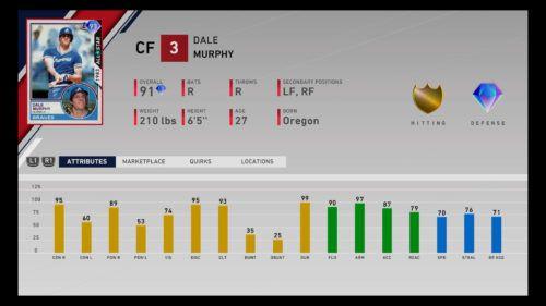 MLB The Show 20 Diamond Dynasty Headliners set 8 Dale Murphy player card