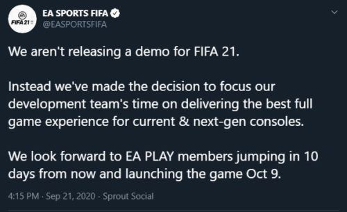 FIFA 21 Demo Cancelled