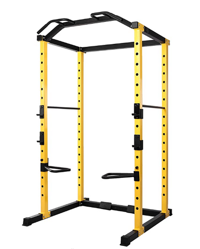 Best squat rack HulkFit product image of a yellow and black full power cage with pull-up bar attachment
