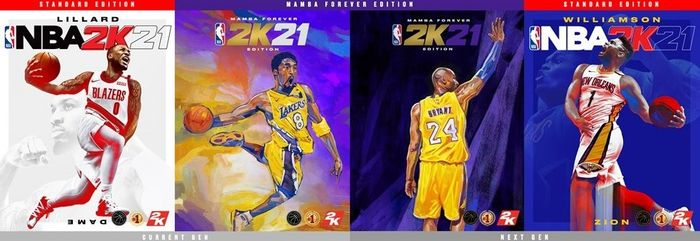 NBA 2K21 covers for next-gen, current-gen, and Mamba Forever Edition