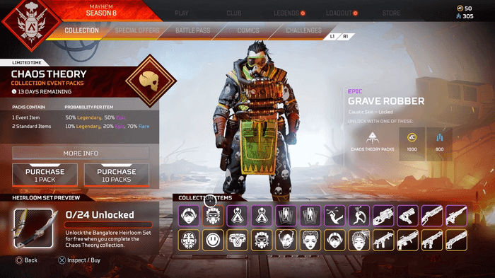 Apex Legends Chaos Theory Skins Grave Robber Caustic