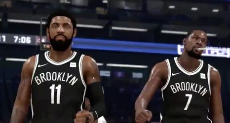 Brooklyn Nets star Kyrie Irving and Kevin Durant take the floor.