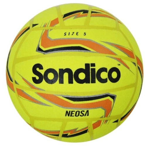 Best footballs Sondico product image of a yellow soft ball with orange details and a black Sondico logo