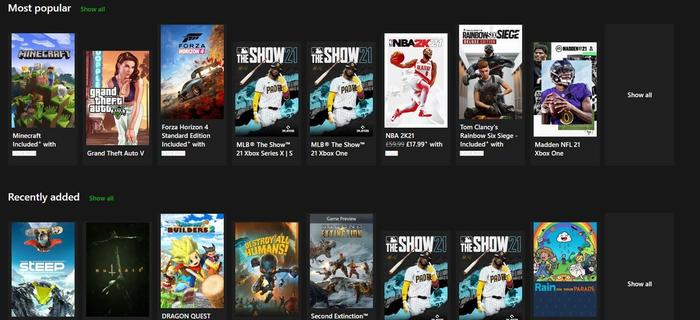 Xbox Game Pass Ultimate MLB The Show 21 games
