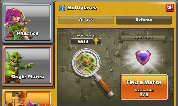 Matchmaking window in Clash of Clans