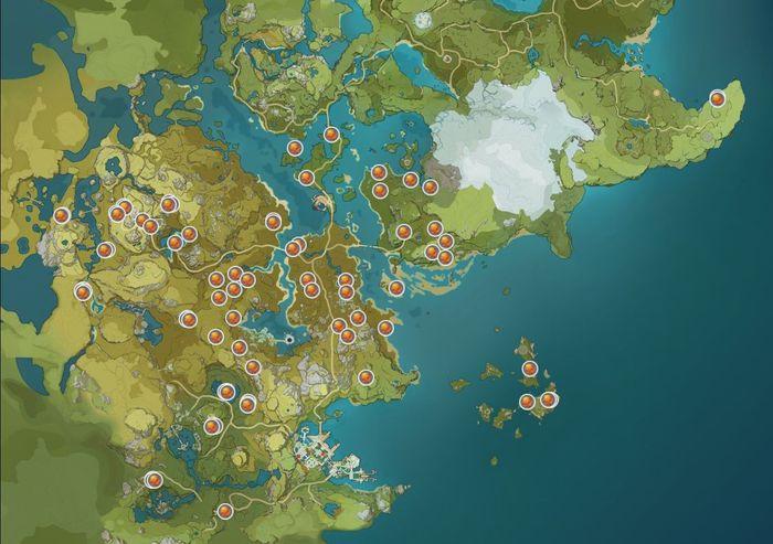 Genshin Impact Flaming Flower Stamen Map Locations