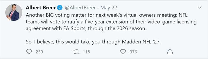 nfl ea sport deal tweet