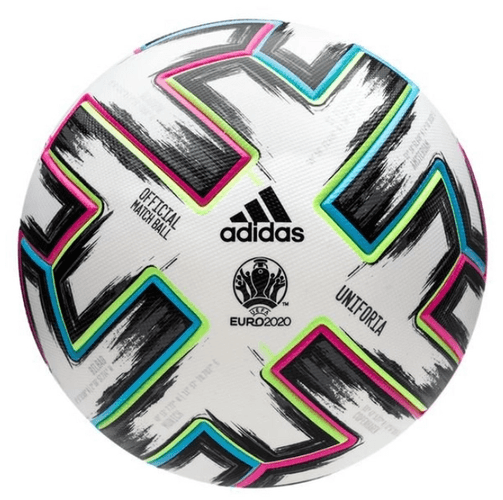 Best footballs adidas product image of a white ball multicoloured details and a Euro 2020 logo