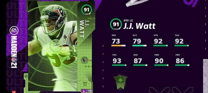 Madden 21 Ultimate Team JJ Watt TOTW 3 LTD