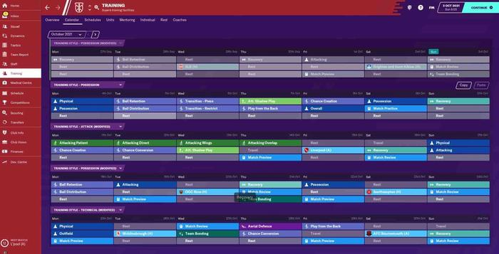 FM21 training calendar