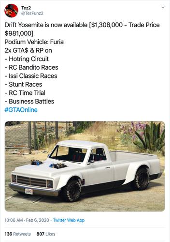 GTA online drift yosemite car