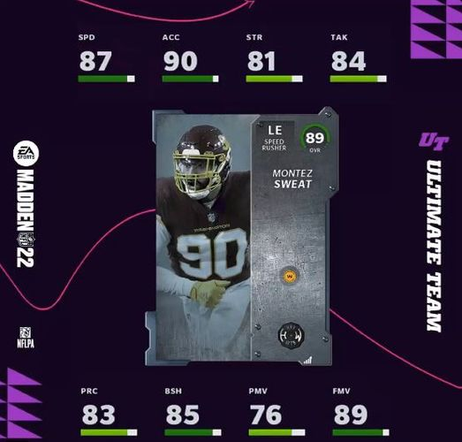 The Montez Sweat card in Madden 22 Madden Ultimate Team
