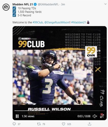 madden 21 russell wilson 99 club