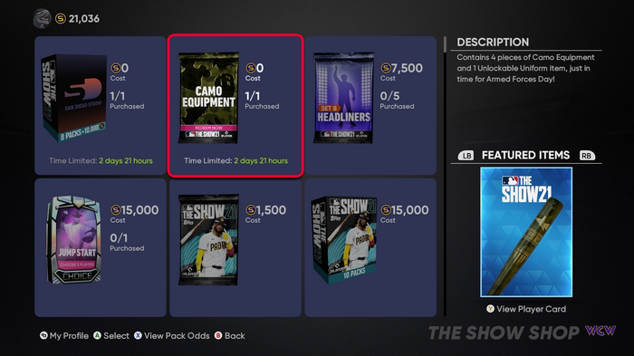 MLB The Show 21 Free Thank You Bundle Camo Pack
