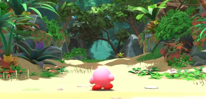 Kirby standing on Forgotten Land beach after washing up