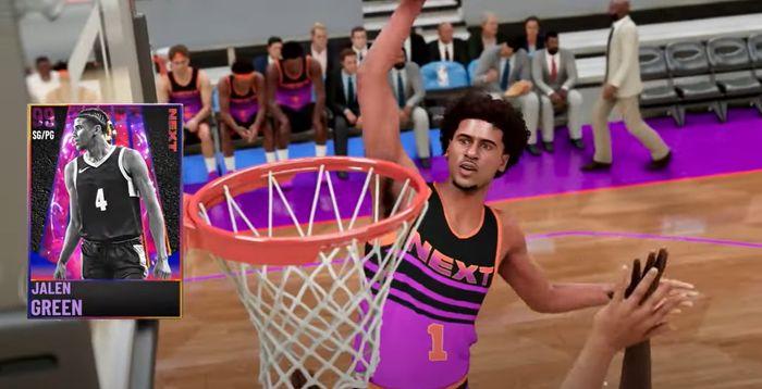 Jalen Green, posterizes an opponent in an NBA 2K21 trailer