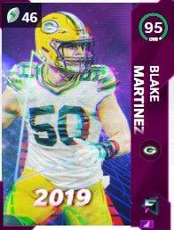 Blake Martinez flashbacks Madden ultimate team 95 OVR card