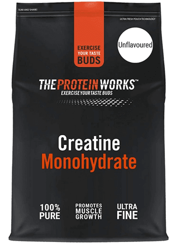 Best creatine supplement THE PROTEIN WORKS product image of a black packet with orange details