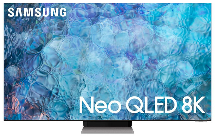 Best TV for Sports Games Samsung product image of an ultra thing TV with an abstract blue background on its display
