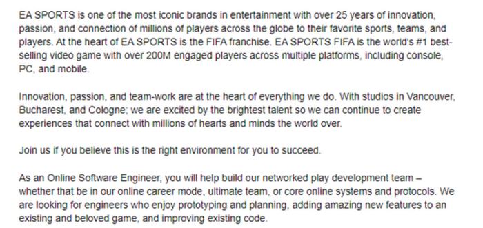 fifa 22 online career mode ea job description