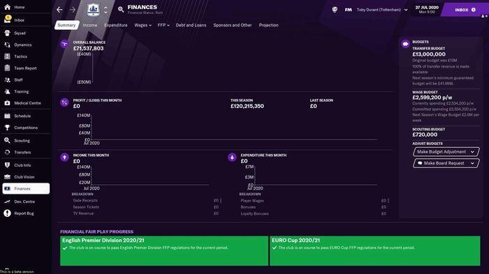 Tottenham Hotspur's finances when you start a Football Manager 2021 save