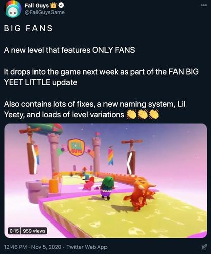 fall guys big fans tweet