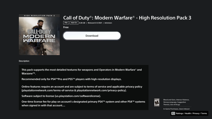 Warzone Texture Pack 3 PS Store