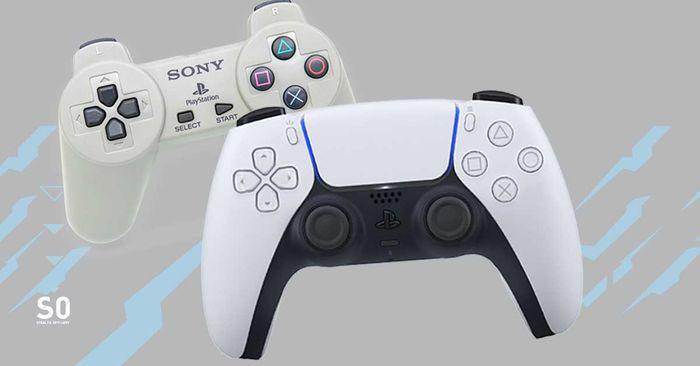 PS5 controller design evolution history ps1 dualshock to playstation 5 dualsense