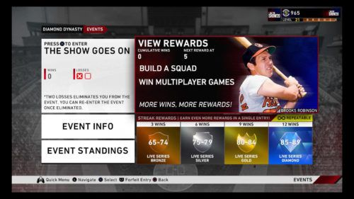 MLB The Show 20 The Show Goes On repeatable rewards diamond dynasty prospects choice pack brooks robinson