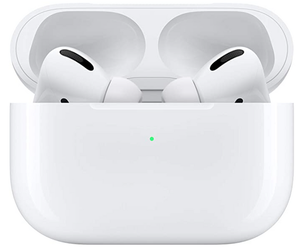 Best running headphones Apple product image of a pair of white Airpods inside their charging case
