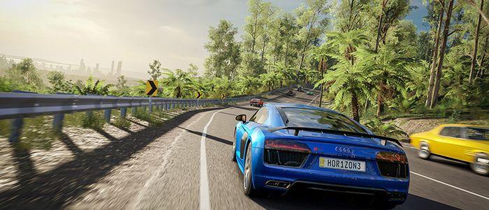 Forza Horizon 4 blue Audi key art