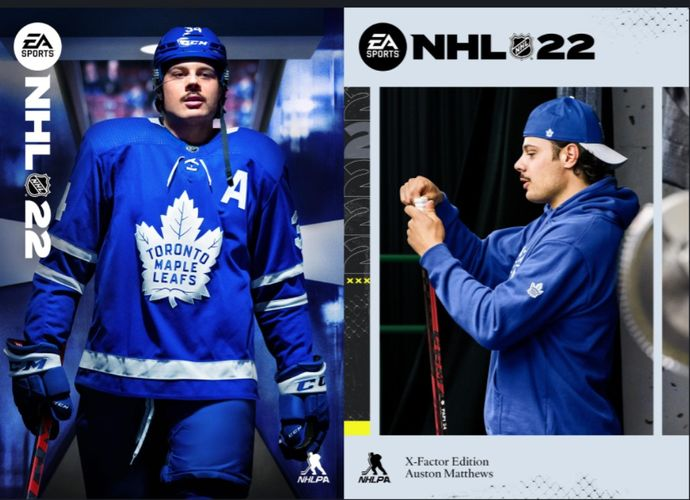 An image of the covers for NHL 22 featuring Auston Matthews