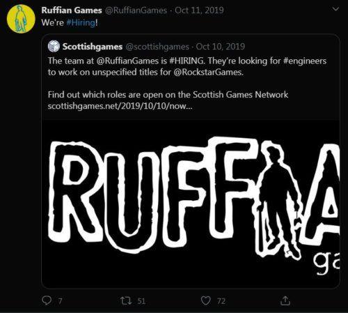 ruffian games hiring tweet 1
