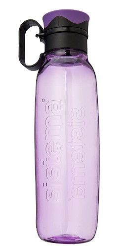 Best Water Bottle Sistema product image of a lilac bottle with a black handle