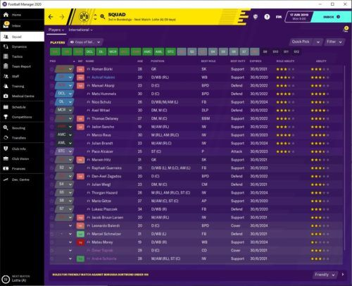 Borussia Dortmund starting FM20 contract situation.