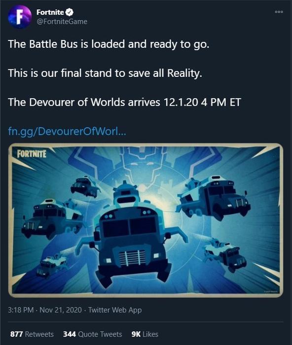 Fortnite Galactus Event Tweet