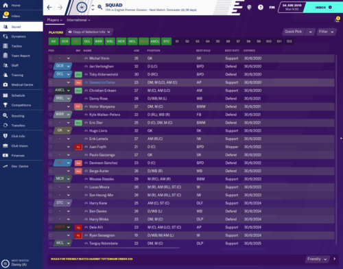 Spurs' FM20 starting contract situation.