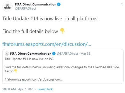 fifa 20 title update 14 tweet