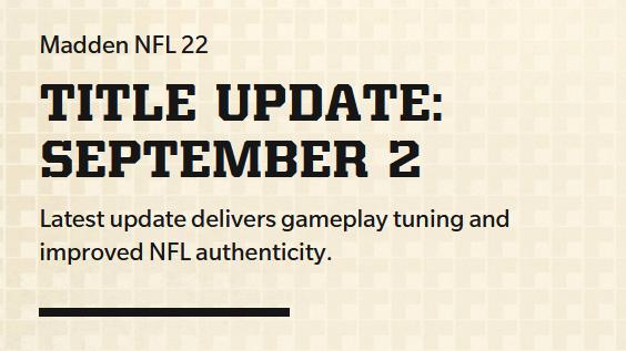 Madden 22 september title update