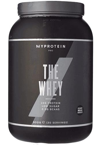 Best protein powder MyProtein product image of a dark grey container of chocolate protein powder